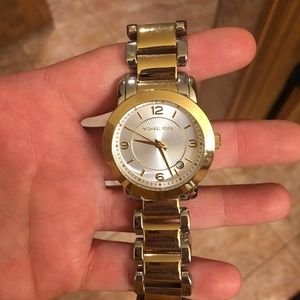 NWT, two-toned gold and silver Michael Kors watch